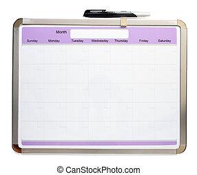Blank calendar - Blank monthly calendar and pen isolated on...