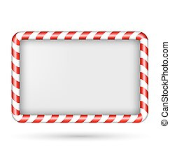 Blank candy cane frame isolated on white