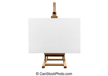 A genuine blank canvas on a wooden easel, isolated on a white background.