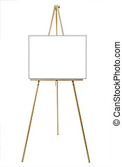 Blank Canvas - Blank canvas on an easel isolated on white...