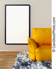Blank canvas hanging on the wall behind yellow couch. 3D illustration