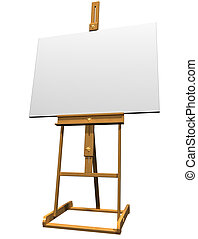 Blank Canvas - Isolated artist easel holding a blank canvas