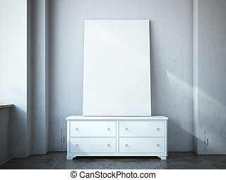 Blank canvas on the chest of drawers in loft.