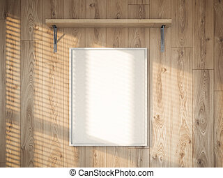 Blank canvas on the wooden wall. 3d rendering