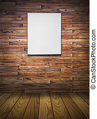 blank canvas on wood wall in vintage room