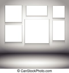 blank canvases in room interior