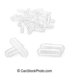 Blank capsule isolated on white background