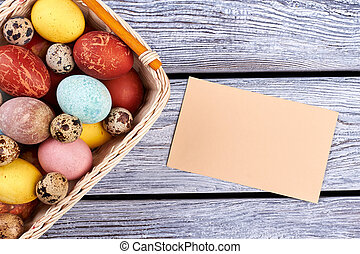 Blank card and Easter basket.