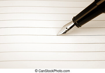 Blank card and the pen in sepia