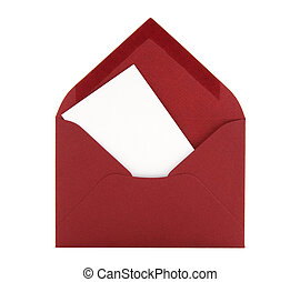 Blank card in a red envelope