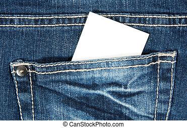 Blank card in blue jeans pocket