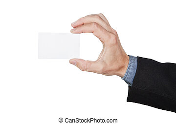 Blank card in hand at the man. On a white background.