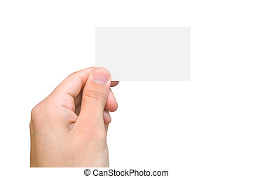 Blank card in hand On a background