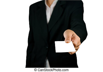 Blank card in hand. On a white back