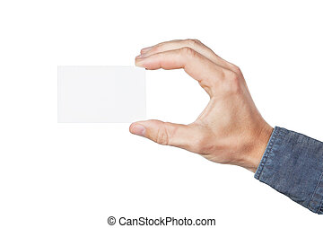Blank card in hand. On a white background.