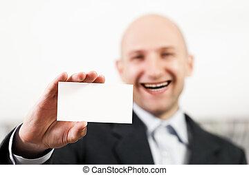 Blank card in man hand
