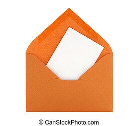 Blank card in orange envelope