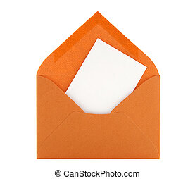 Blank card in orange envelope - Blank card with space for...