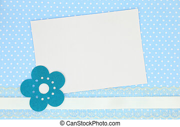 Blank card on blue polka dots background