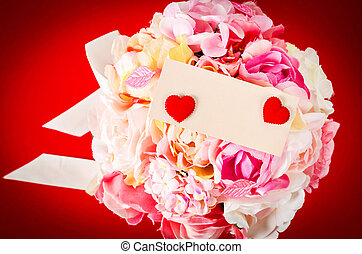 Blank card with bouquet pink rose.