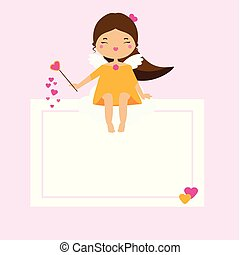 Blank card with Cute Cupid girl fairy. Design template for romantic, love, wedding, St Valentines day design, invitations