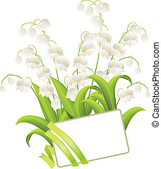 Blank card with lilies of the valley