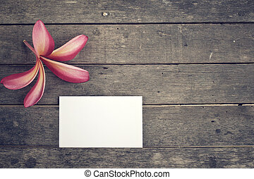 Blank card with pink flower