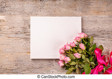 Blank card with rose flower bouquet