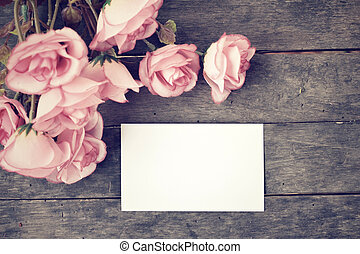 Blank card with roses