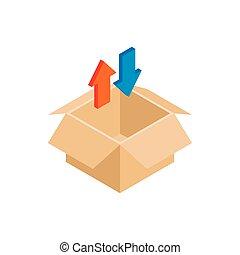 Blank cardboard box and arrows icon