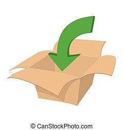 Blank cardboard box cartoon icon
