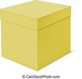 Blank cardboard box template on white background.