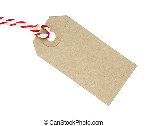 Blank Cardboard Tag Labe with Red and White String Isolated on White Background