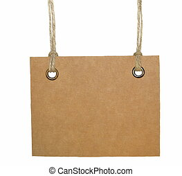 Blank cardboard tag tied - Blank tag tied isolated on white...