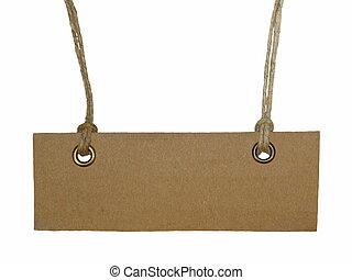 Blank cardboard tag tied