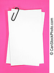 Blank Cards - Blank white cards with paperclip, over vibrant...