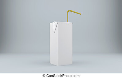 Blank carton package with straw. 3D rendering