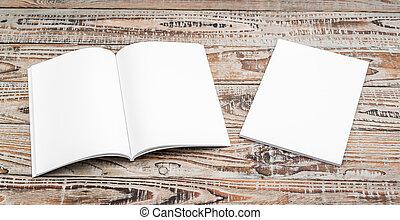 Blank catalog, magazines, book mock up on wood background...