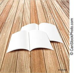 Blank catalog, magazines, book mock up on wood background. ...