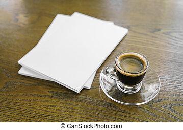 Blank catalog, magazines, book mock up on wood background ...