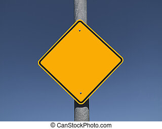 Blank Caution Sign - Blank caution sign with a deep blue...