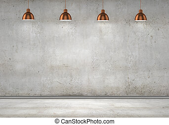 Blank cement wall with place for text illuminated by lamps...