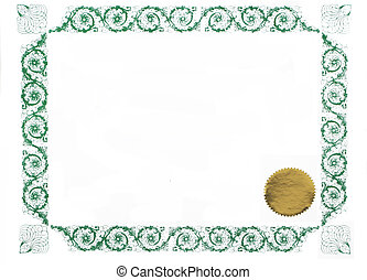 blank certificate - certificate border and gold stamp, blank...
