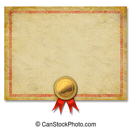 Blank Certificate With Gold Crest Ribbon - Blank Old grunge...