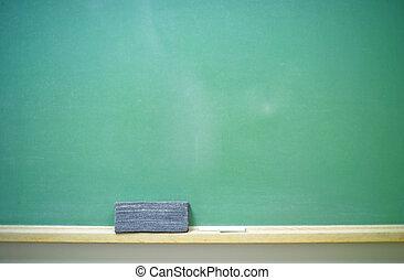 Blank Chalkboard-horizontal - A horizontal blank green...