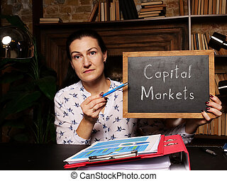 Blank chalkboard in a hand with phrase Capital Markets . Horizontal shot. Close-up