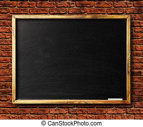 Blank chalkboard in wooden frame