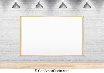 Blank chalkboard on brick wall in room.