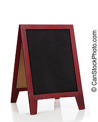 Blank chalkboard or blackboard stand with easel frame