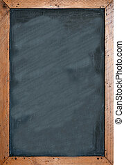 Blank chalkboard with brown wooben frame. Empty space for ...